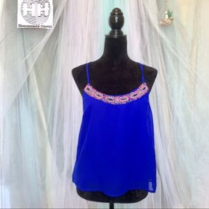 Charlotte Russe Blue Beaded Cropped T Top